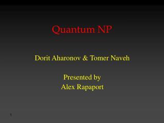 Quantum NP