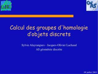 Calcul des groupes d'homologie d'objets discrets