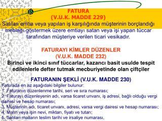 FATURA (V.U.K. MADDE 229)