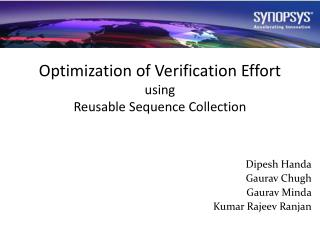 Optimization of Verification Effort  using Reusable Sequence Collection
