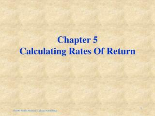 Chapter 5 Calculating Rates Of Return