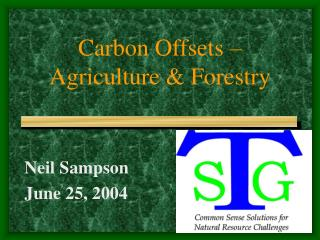 Carbon Offsets – Agriculture & Forestry