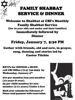 FAMILY SHABBAT  SERVICE & DINNER