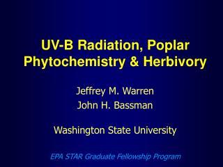 UV-B Radiation, Poplar Phytochemistry & Herbivory