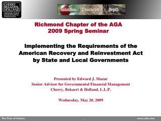 Richmond Chapter of the AGA 2009 Spring Seminar