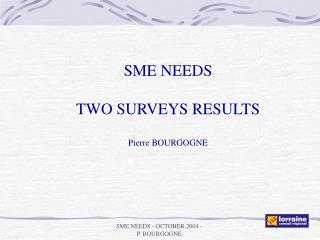 SME NEEDS TWO SURVEYS RESULTS Pierre BOURGOGNE