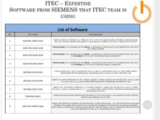 ITEC – Expertise Software from SIEMENS that ITEC team is using