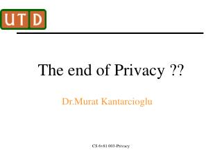 The end of Privacy ??
