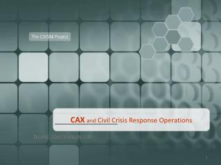CAX and  Civil Crisis Response Operations