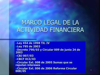 MARCO LEGAL DE LA ACTIVIDAD FINANCIERA