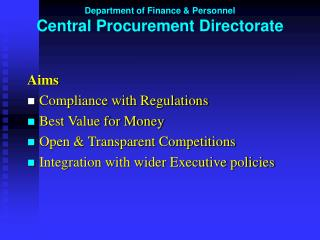 Department of Finance & Personnel Central Procurement Directorate