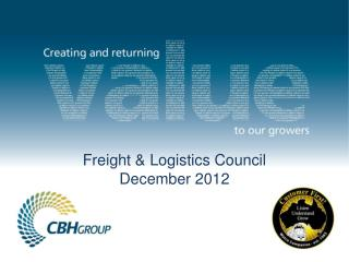 Freight & Logistics Council  December 2012