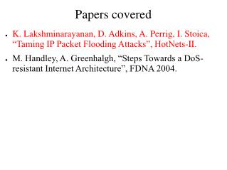 Papers covered