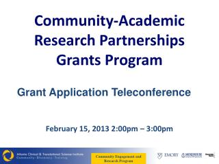 Community-Academic Research Partnerships Grants Program
