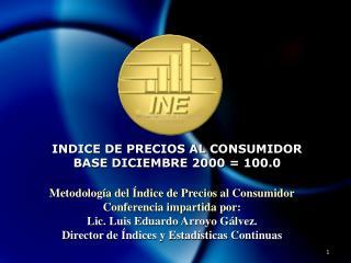 INDICE DE PRECIOS AL CONSUMIDOR BASE DICIEMBRE 2000 = 100.0