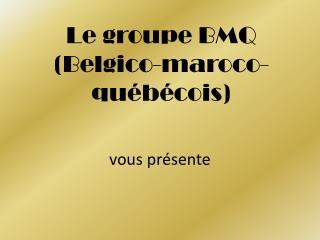 Le groupe BMQ (Belgico-maroco-qu�b�cois)