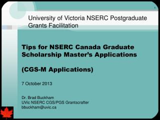 University of Victoria NSERC Postgraduate Grants Facilitation