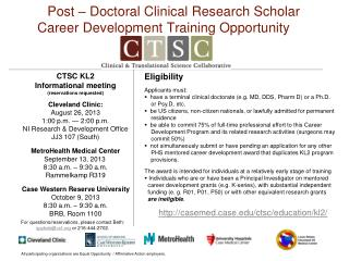 Post – Doctoral Clinical Research Scholar Career Development Training Opportunity