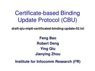 Certificate-based Binding Update Protocol (CBU)