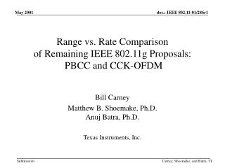 Range vs. Rate Comparison  of Remaining IEEE 802.11g Proposals:  PBCC and CCK-OFDM