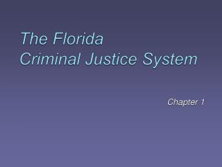The Florida  Criminal Justice System