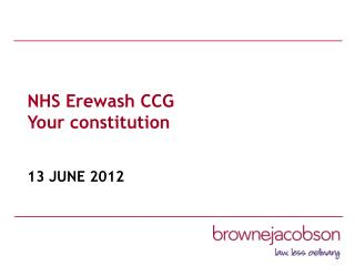 NHS Erewash CCG  Your constitution