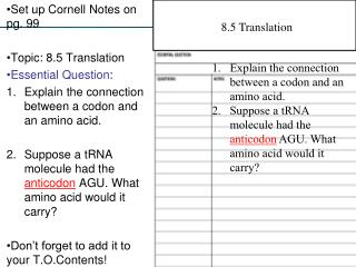 Set up Cornell Notes on pg. 99 Topic: 8.5 Translation Essential Question :