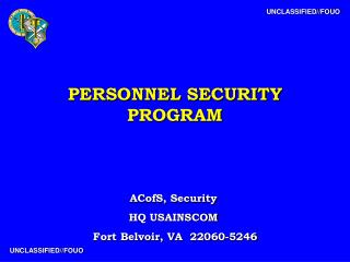 PERSONNEL SECURITY PROGRAM