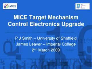 MICE Target Mechanism Control Electronics Upgrade