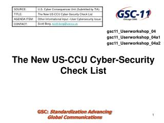 The New US-CCU Cyber-Security Check List