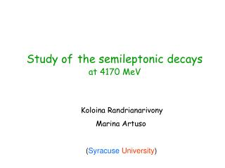 Study of the semileptonic decays at 4170 MeV