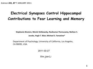 Electrical Synapses  Control  Hippocampal Contributions  to Fear  Learning and  Memory