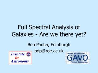 Full Spectral Analysis of Galaxies - Are we there yet?