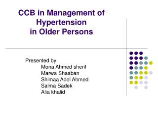 CCB in Management of Hypertension in Older Persons