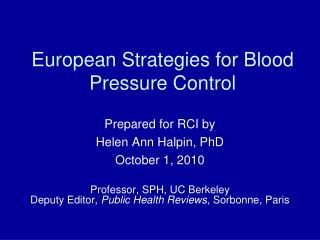 European Strategies for Blood Pressure Control