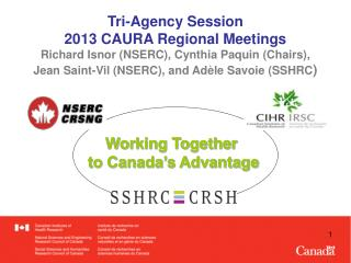 Tri-Agency Session 2013  CAURA Regional  Meetings Richard  Isnor (NSERC), Cynthia Paquin (Chairs),
