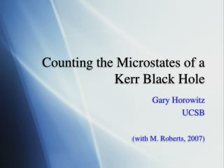 Counting the Microstates of a Kerr Black Hole