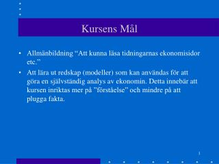 Kursens M�l