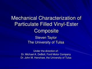 Mechanical Characterization of Particulate Filled Vinyl-Ester Composite