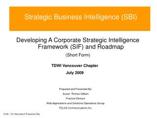 Strategic Business Intelligence (SBI)