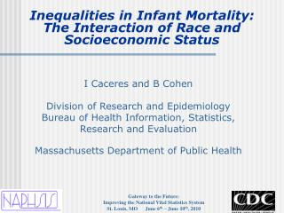 Inequalities in Infant Mortality:  The Interaction of Race and  Socioeconomic Status