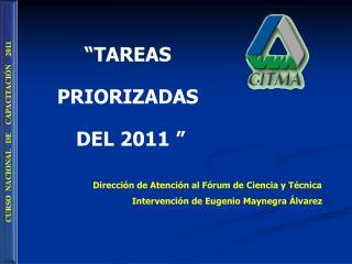 """TAREAS  PRIORIZADAS  DEL 2011 """