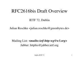 RFC2616bis Draft Overview