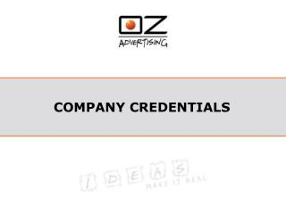 COMPANY CREDENTIALS