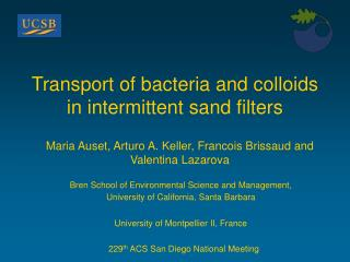 Transport of bacteria and colloids in intermittent sand filters