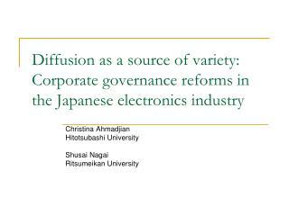Christina Ahmadjian Hitotsubashi University Shusai Nagai Ritsumeikan University