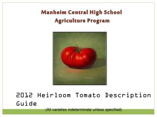 Manheim Central High School  Agriculture Program
