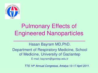 Pulmonary Effects of  Engineered Nanoparticles