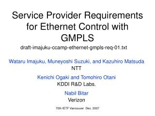 Service Provider Requirements for Ethe rnet Control with  GMPLS