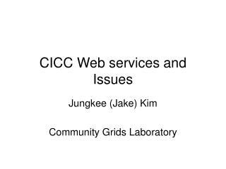 CICC Web services and Issues